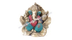 Brass Ganesh With Stone Work