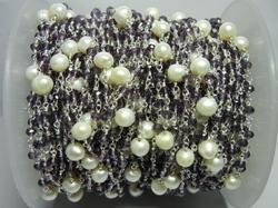 Amethyst with Pearl Bead Gemstone Rosary Chain