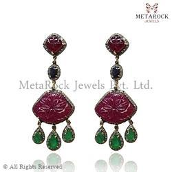 Mix Gemstone Designer Carved Earring