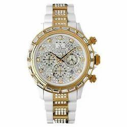 Pink Gold Stones Bezel Watch