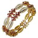 Heavy Design Ruby Gold Bangle