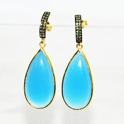 Stud Style Rich Blue Diamond  With Chalcedony Earring