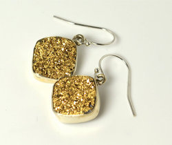 Golden Druzy Bezel Set Gemstone Earring