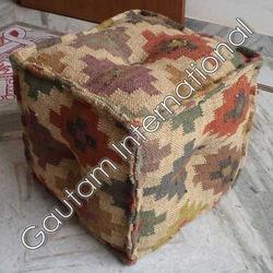Brown Wool Pouf