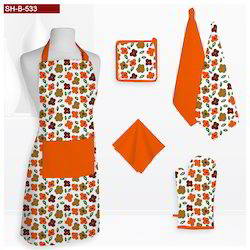 Contrest Flower Printed Kitchen Linen Set