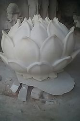 Indoor/Outdoor White Marble Lotus, for Outdoor, Size: 3.5dia