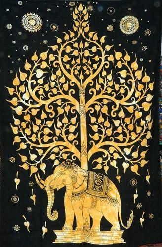Kavita Prints Golden Tree Elephant Tapestry Cotton Wall Hanging, Size(cm): Upto 250 X 280