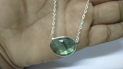 Labradorite Bezel Set Silver Gemstone Necklace