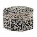 White Metal Octagonal Jewellery Box