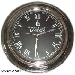 Antique Finish Round Brass Nickle Plated Wall Clock, Size: Standard