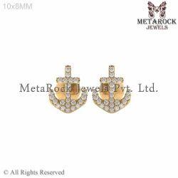 14k Yellow Gold Stud Anchor Diamond Earring Jewelry