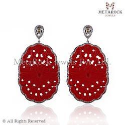 Ruby Gemstone Silver Carved Earring