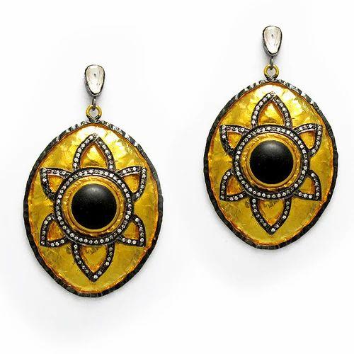Vermeil Uncut Cz Black Onyx Dangle Earrings