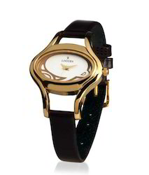 Black Leather Belt Golden Dial Ladies Watch