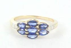 14k Sapphire And Diamond Yellow Gold Ring