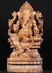 36 Inches Wooden Lord Ganesha