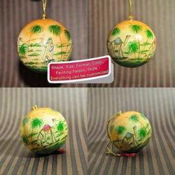 Xmas Hanging Ball / Bauble - Paper Mache