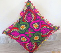 Multicolor Printed Hand Embroidered Pillow Cover