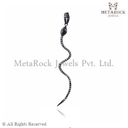 Snake Design Diamond Charm Pendant