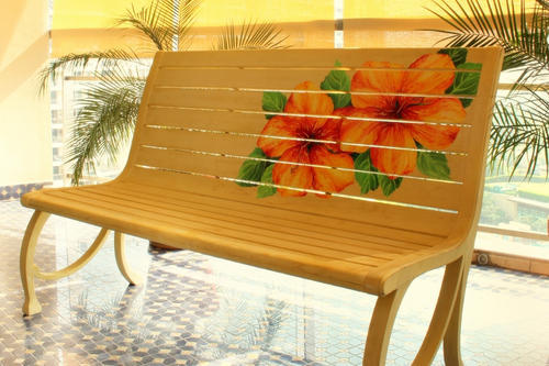 Hand Painted Wooden Bench लकड क, Hand Painted Outdoor Benches