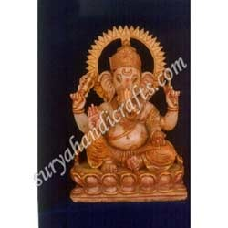 Marble Ganesh With Gold Painting