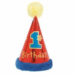 1st Birthday Cone Hat W Faux Fur