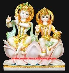 Marble Radha Krishna Statue on Lotus