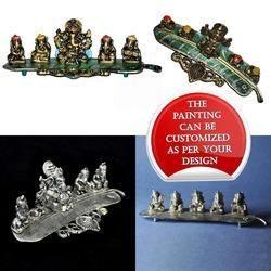 Musical Leaf Ganesha - White Metal Decorative Artwork
