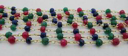 Ruby Emerald Sapphire Dyed Bead Chain Rosary Wire Wrapped