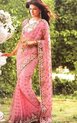 Georgette Cotton Pink Classy Saree, Packaging Type: Carton, Machine Made