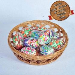 Wooden Eggs Multicolor Whole Sale Paper Mache Easter Egg Custom Designed Easter E, Size: 2 Inch Onwards, Pack Size: 12 Pieces