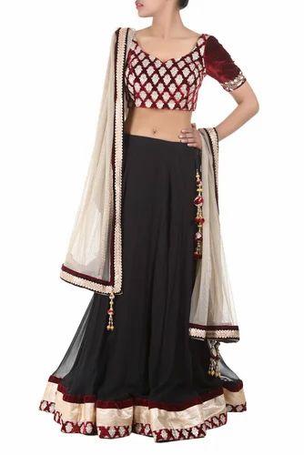3a68874ec64fba Black & Maroon Lehenga | Inanna | Manufacturer in Sector 83, Noida ...