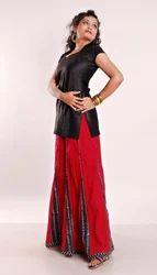 Block Printed Kalidar Cotton Skirt With Gusset