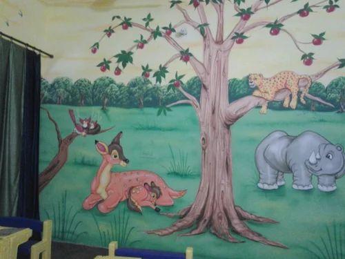 Jungle Theme Painting Play School Wall Painting 3d Cartoon Theme