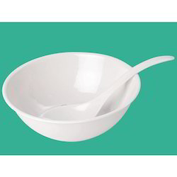White Bowl with Spoon