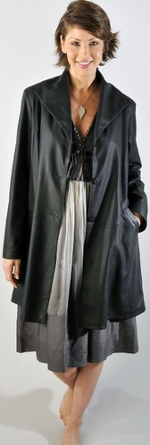 Albatross Black,brown Manufacturer of Leather Long Coats with SGS Lab Tests