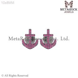 Pave Setting Gemstone Anchor Shape Earring Jewelry