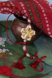 Gold Foil Flower Rakhi