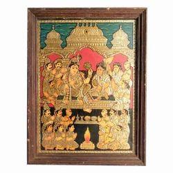 Krishna Pooja Tanjore Painting
