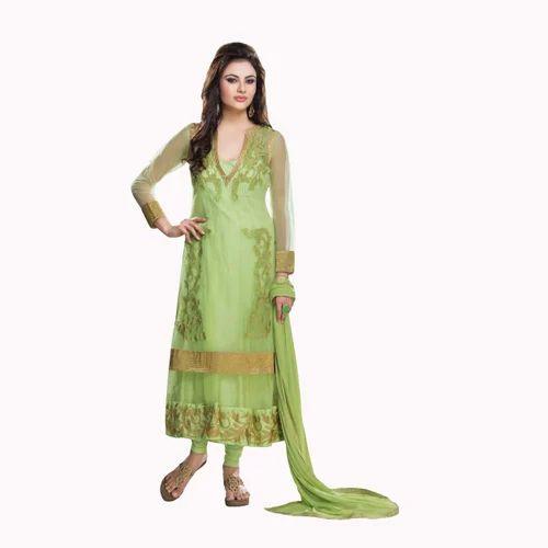 952ab22bbb Green Net Designer Partywear Anarkali Salwar Kameez - V Dream India ...