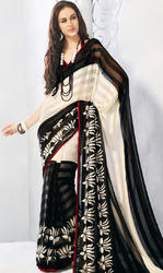925acc3f69 Black and Off White Brasso Faux Georgette Saree with Blouse ...