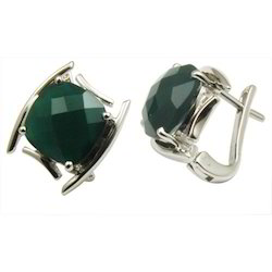 Green Agate Sterling Silver Earring