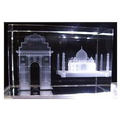 100 X 60 X 60 Mm White 3D Laser  Crystal Monuments Taj Mahal And India Gate