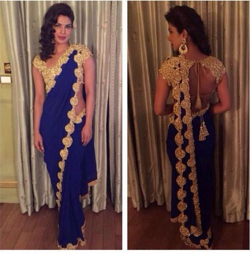 a67d6a8915d Bollywood Style Royal Blue Saree