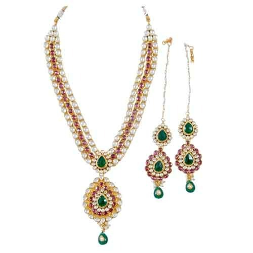 Long Necklace Set And Earrings Designs In Gold Plated