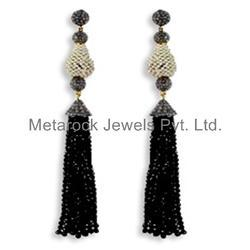 Black Spinel Gemstone Tassels Earrings