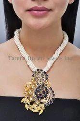 Gold, Blue Quartz Fusion Statement Necklace