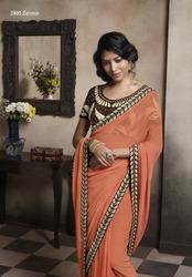 Chiffon Party Wear Saree, Machine Made