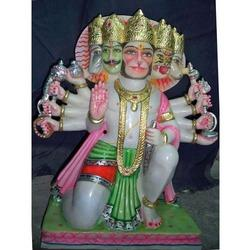 5 Headed Hanuman Marble Statue