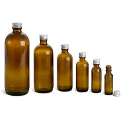 Amber Glass Round Bottles